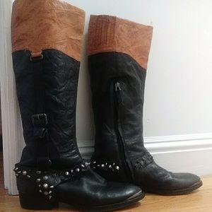 Black/tan studded Sam Edelman leather boots. 8